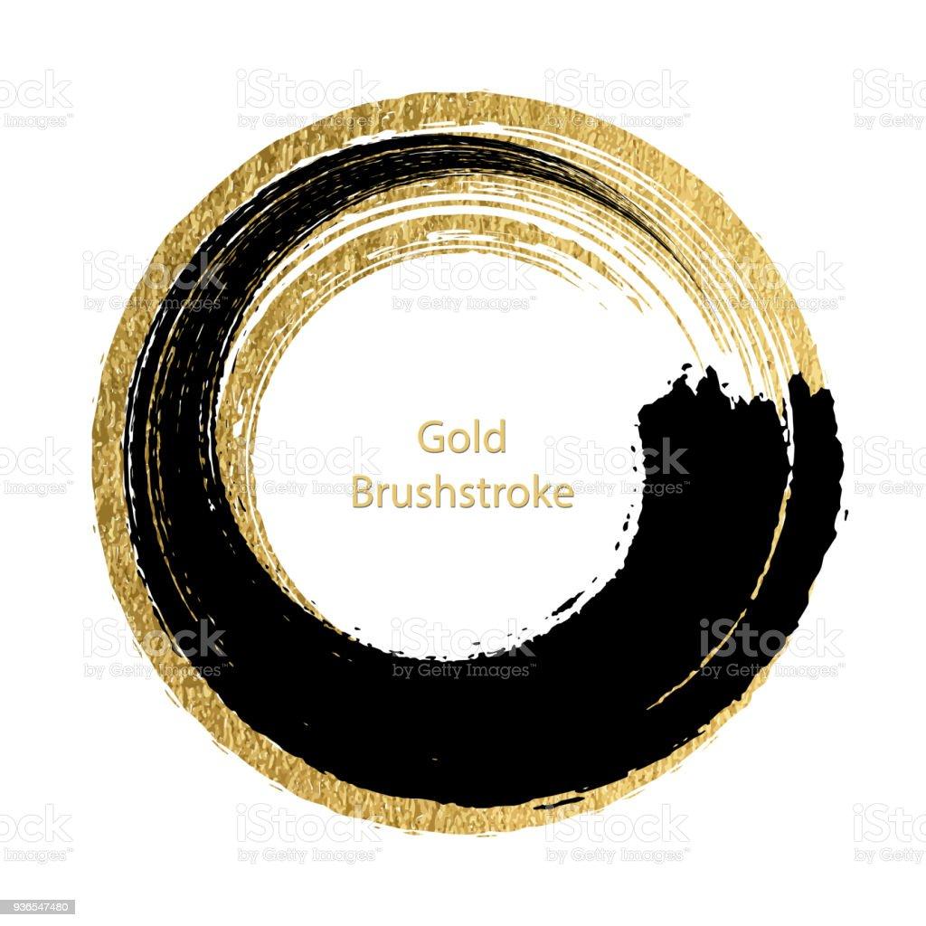 Vektör Siyah Ve Altın Brushstroke Tasarım şablonları Için Broşürler
