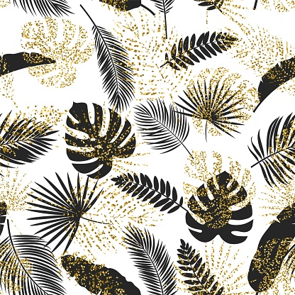 Vector black and golden tropical leaves seamless pattern on white background