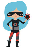 Vector black and red masked superheroine graphic editable illustration with super atomic powers. Use for scrapbooking, crafting, quilting, print on demand, fabric, textiles, stationery