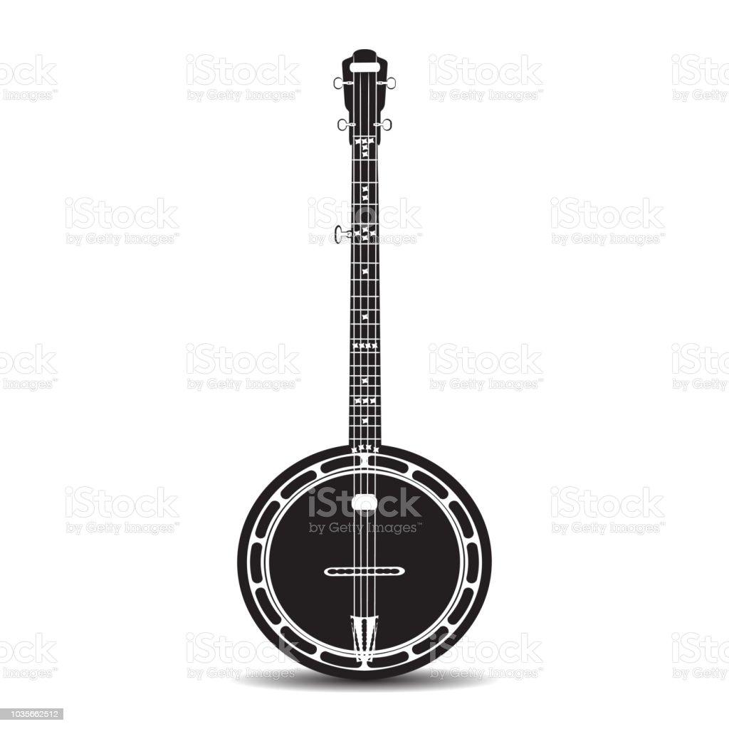 Vector black and white banjo, musical instrument vector art illustration