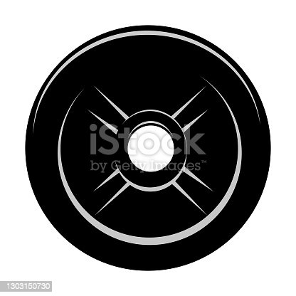 istock Vector Black and White barbell Plate, isolated on white 1303150730
