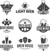 Set of vector black and white beer labels, icons and design elements for beer house, bar, pub, brewing company branding and identity.