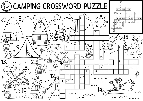 Vector black and white camping crossword puzzle. Simple forest summer camp outline quiz for children. Educational activity with kids fishing, hiking. Woodland cross word or coloring page.