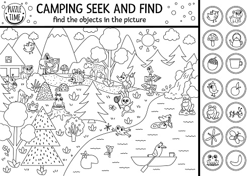 Vector black and white camping searching game or coloring page with cute animals in the forest. Spot hidden objects. Simple seek and find s outline summer camp or woodland printable activity