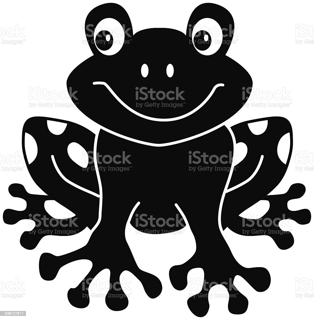 Black and White Cartoon Frog Clip Art  MyCuteGraphics