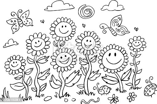 Vector black and white cartoon sunflowers illustration. Suitable for greeting cards, colouring activity and wall murals. Coloring activity for kids.
