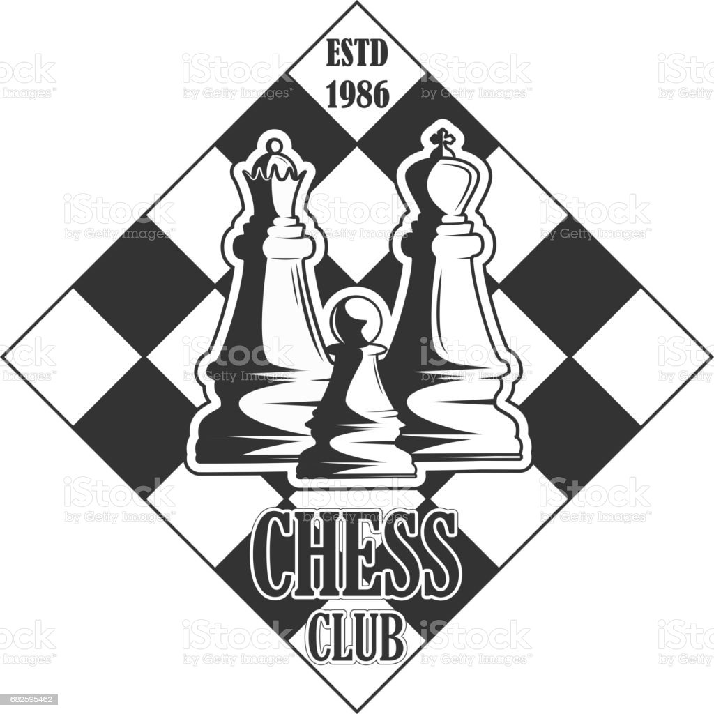 Vector black and white chess club logo for your design different types of print and internet vector art illustration