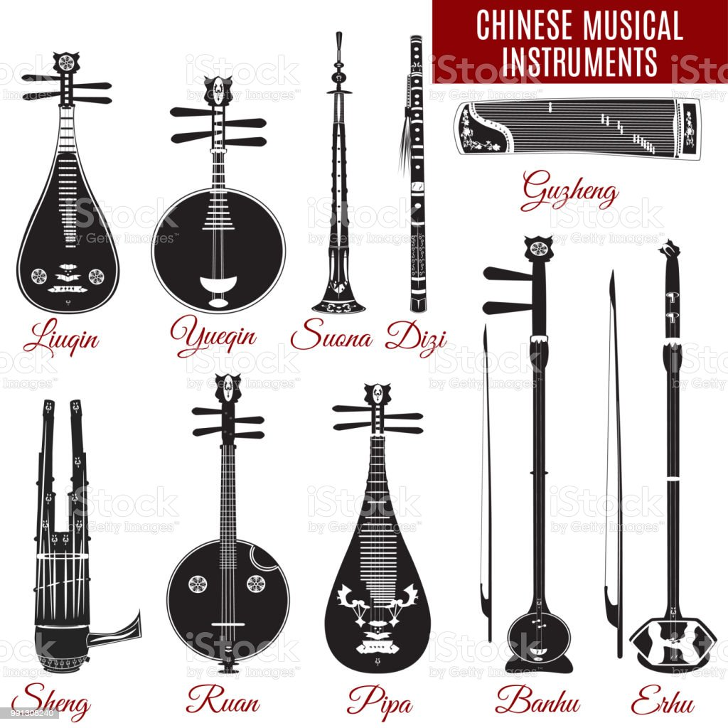 vector black and white chinese musical instruments stock
