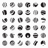 Vector black and white circle stripes pattern buttons collection for design