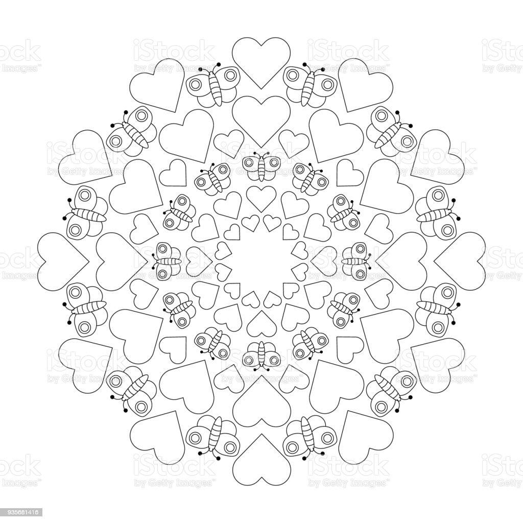 Vektorschwarze Und Weiße Kreisförmige Niedlichen Mandala Mit Herzen ...