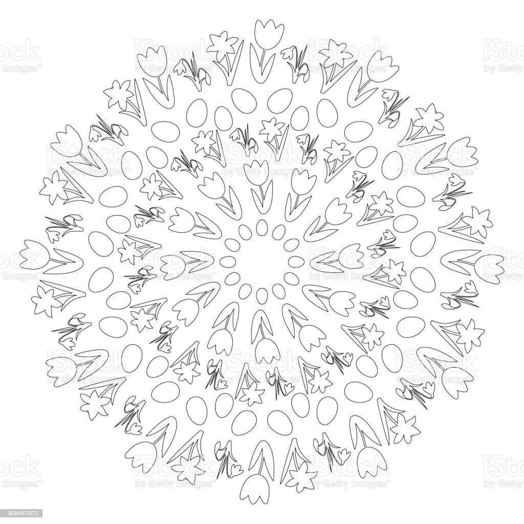 Vektorschwarze Und Weiße Kreisförmige Runde Ostern Frühling Mandala