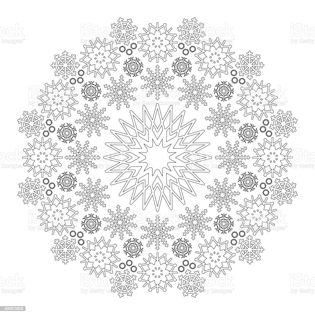 vector black and white circular winter mandala with