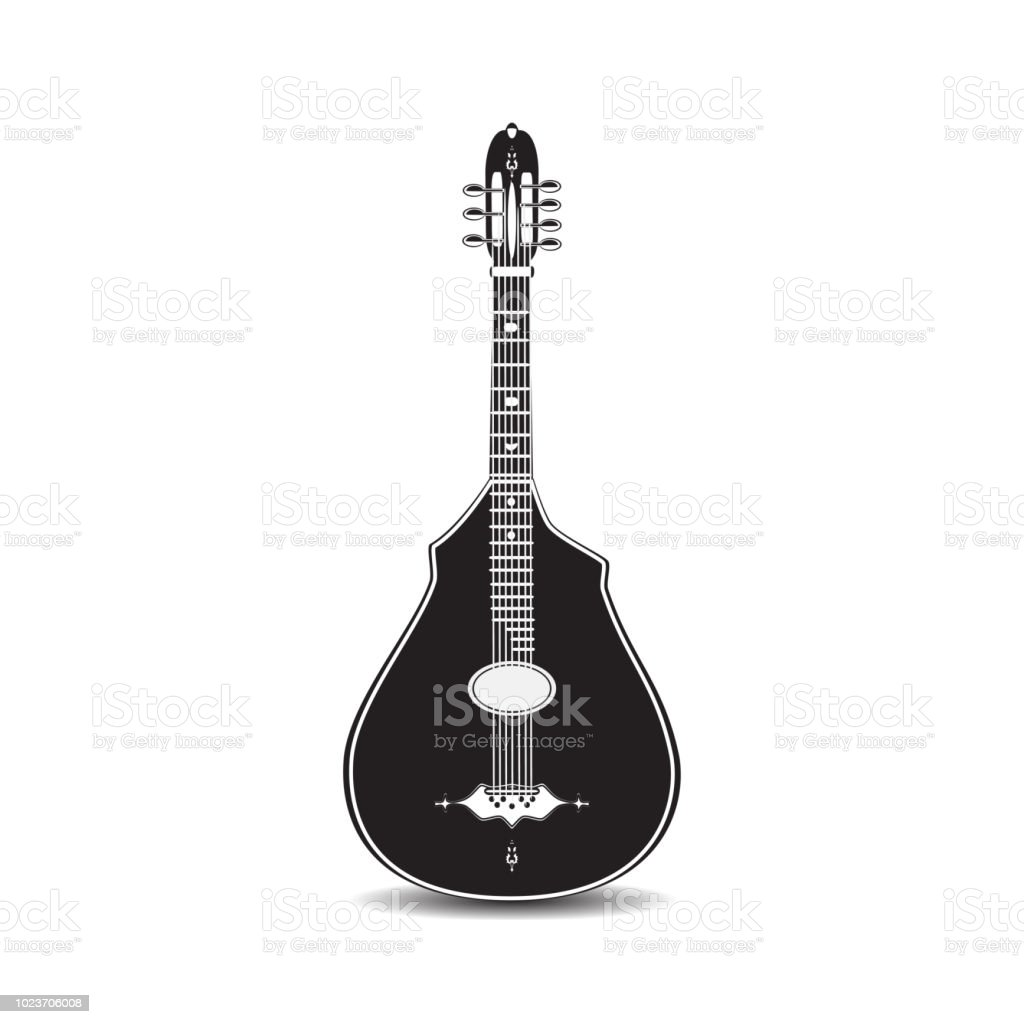 Vector black and white classic acoustic guitar vector art illustration