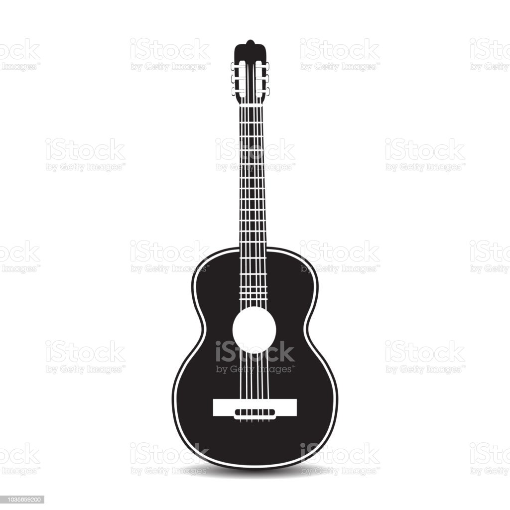 Vector black and white classic guitar vector art illustration