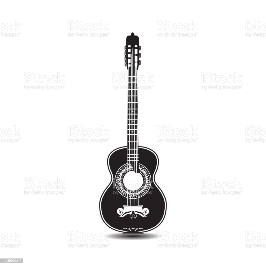 Vector Black And White Classic Guitar Stock Illustration - Download Image Now - Istock-2010