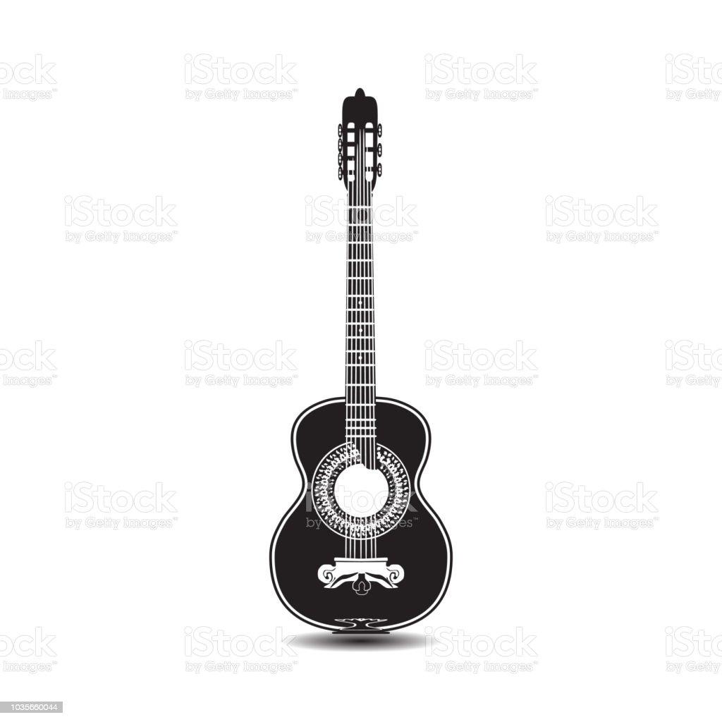 Vector black and white classic guitar vector art illustration