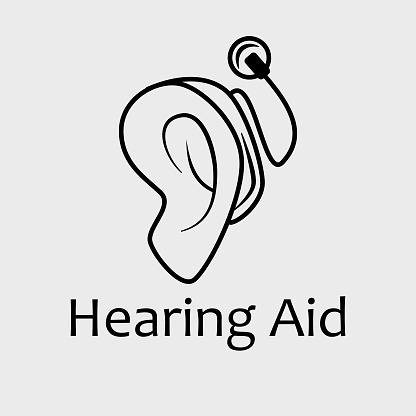 Vector Black and White Cochlear or Auditory brainstem Hearing Aid Implants Icon. Great for health services, accessibility and advertisement of assisted technologies.