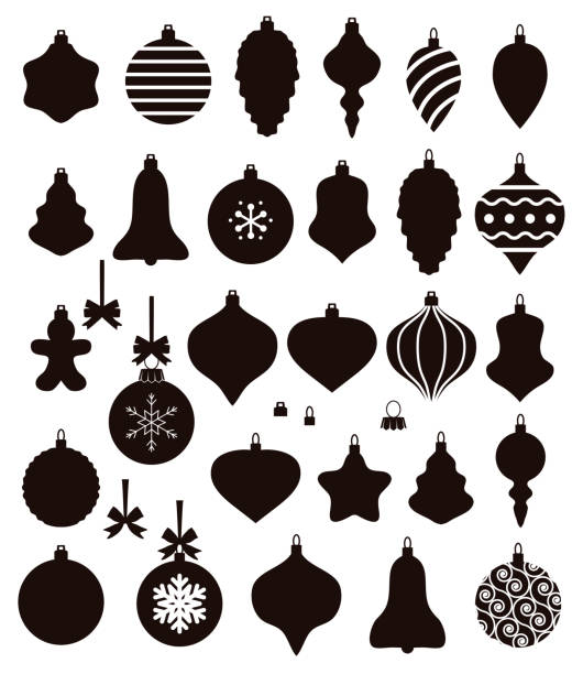 vector black and white collection of christmas ball shapes vector black and white collection of christmas ball shapes christmas ornament stock illustrations