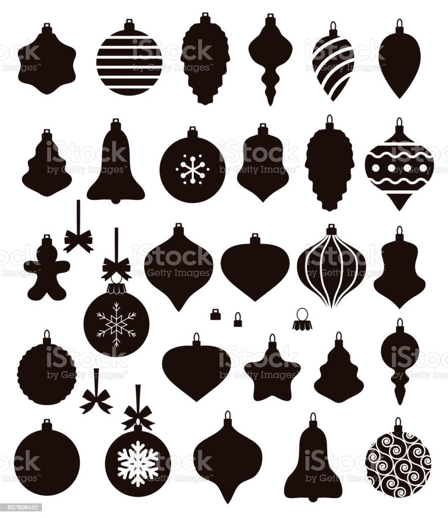 vector black and white collection of christmas ball shapes vector art illustration