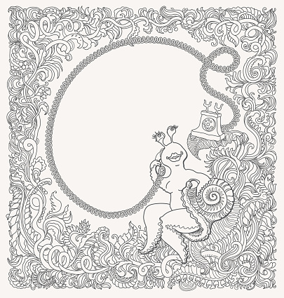 Vector black and white contour thin line fairy tale snail with telephone drawing. Fantasy floral vignette frame with text field. T-shirt print. Adults Coloring book page. Greeting, invitation card