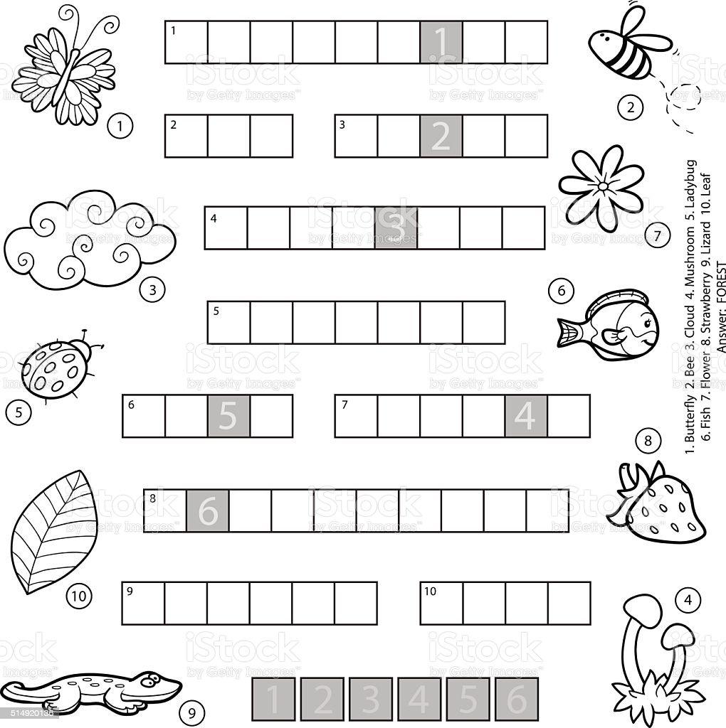 Vector De Blanco Y Negro Crucigrama Para Niños Sobre Naturaleza ...
