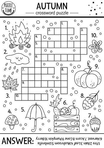 Vector black and white fall season crossword puzzle for kids. Simple outline quiz with autumn forest objects for children. Educational activity or coloring page with cute funny woodland animals