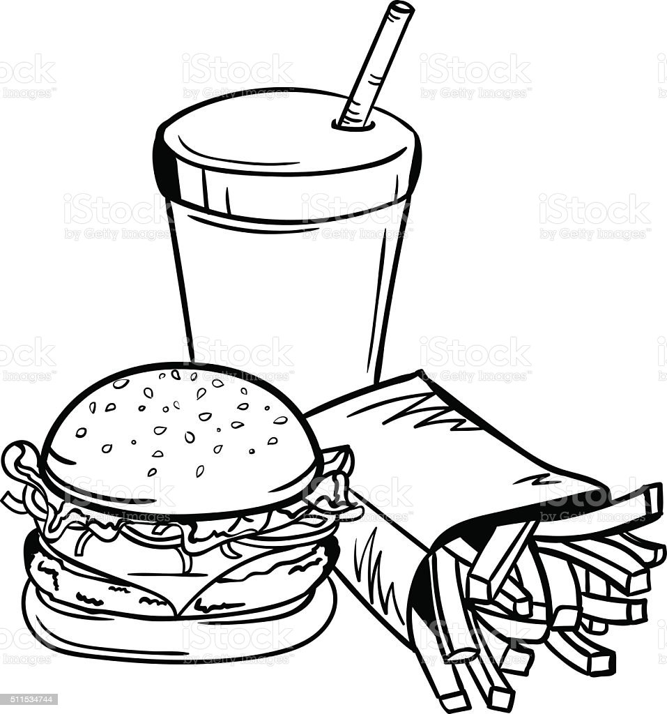 Vector black and white fast food illustration stock illustration download image now