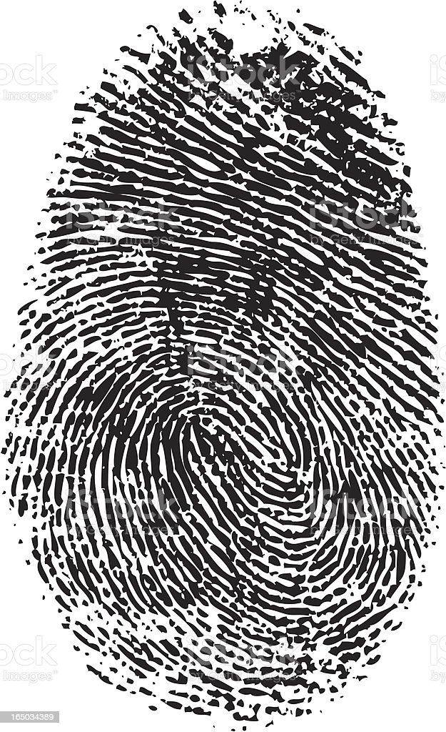 A vector black and white fingerprint royalty-free stock vector art