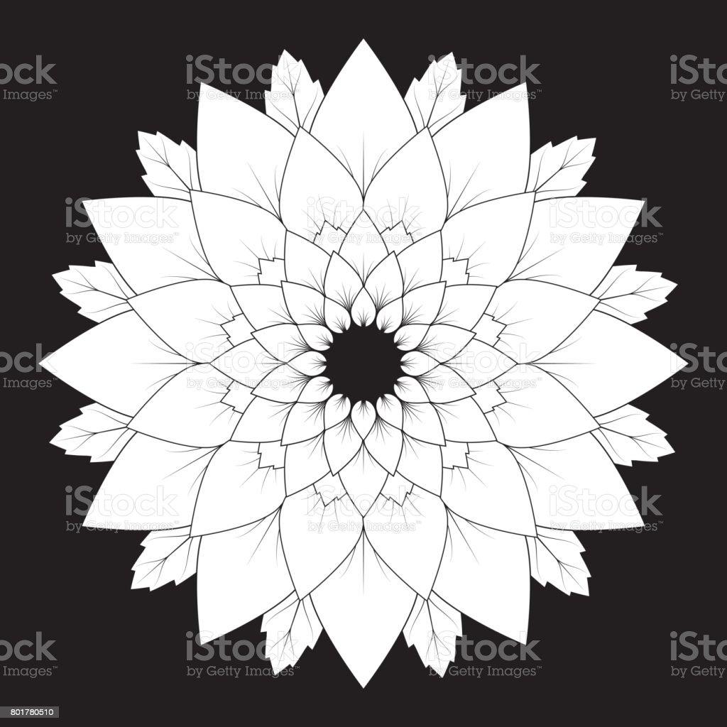Coloriage Adulte Fond Noir.Vector Fond Noir Et Blanc Floral Mandala Naturel Adulte Livre