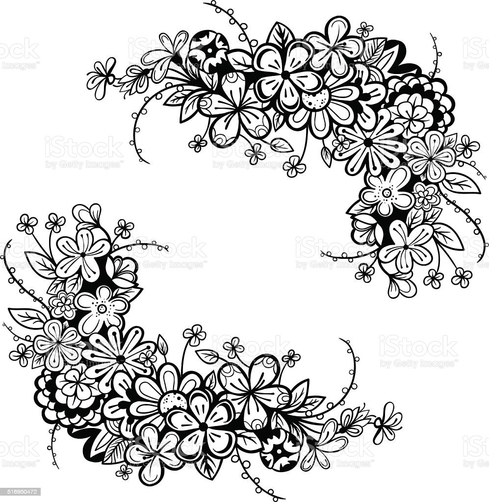 Vector Black And White Flower Frame Stock Vector Art More Images