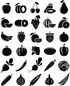 Vector Black and White Fruits and Vegetables Icons