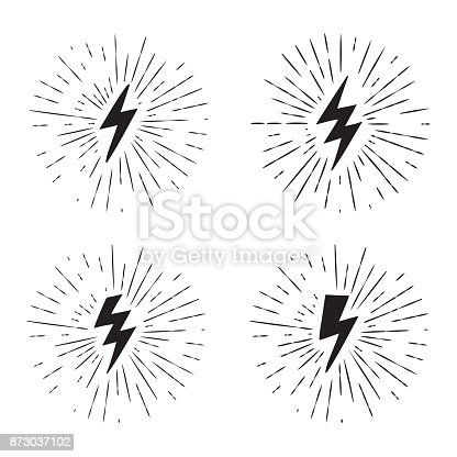 Vector black and white grunge retro set with lightning bolt signs with sunburst effect.