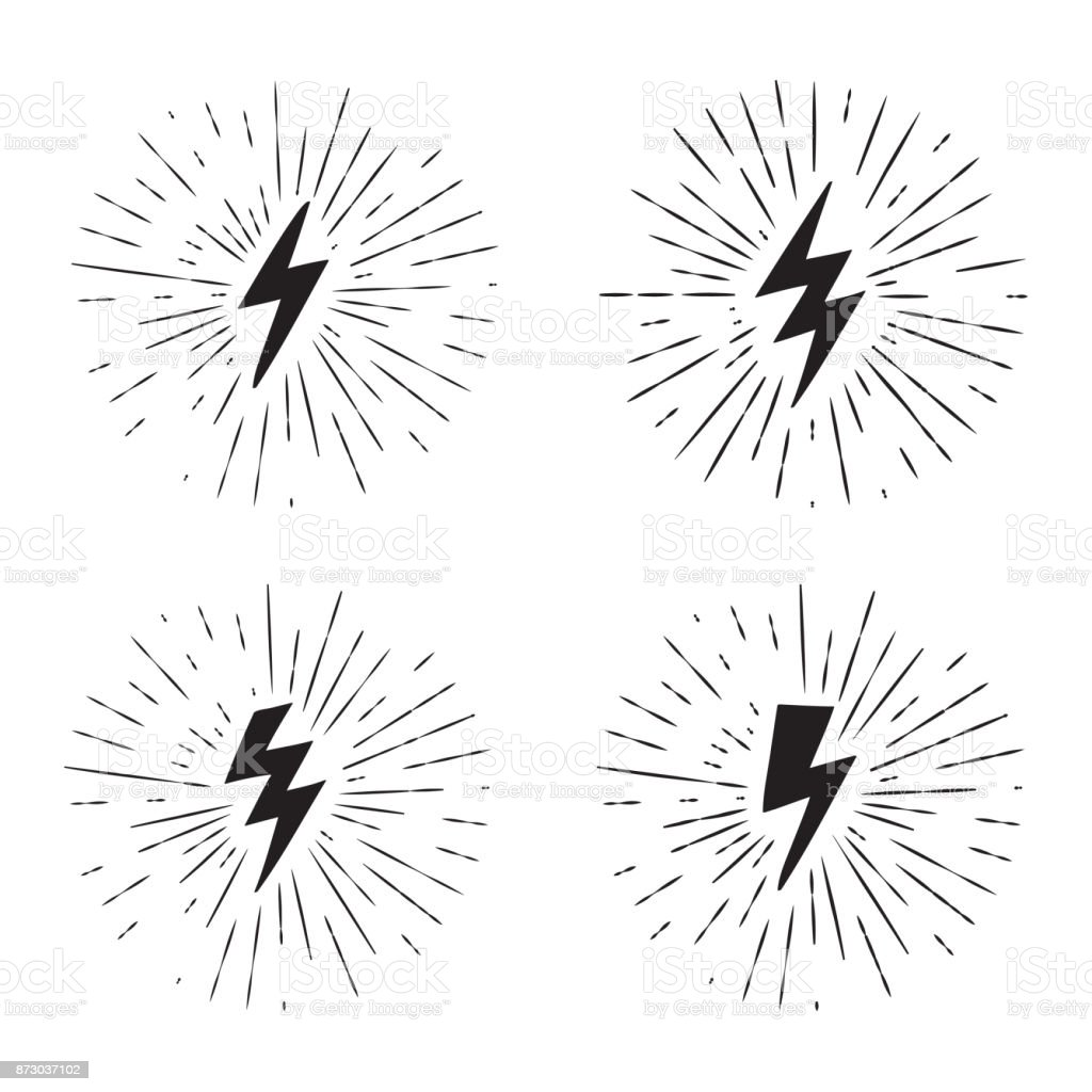 Vector black and white grunge retro set with lightning bolt signs with sunburst effect. vector art illustration
