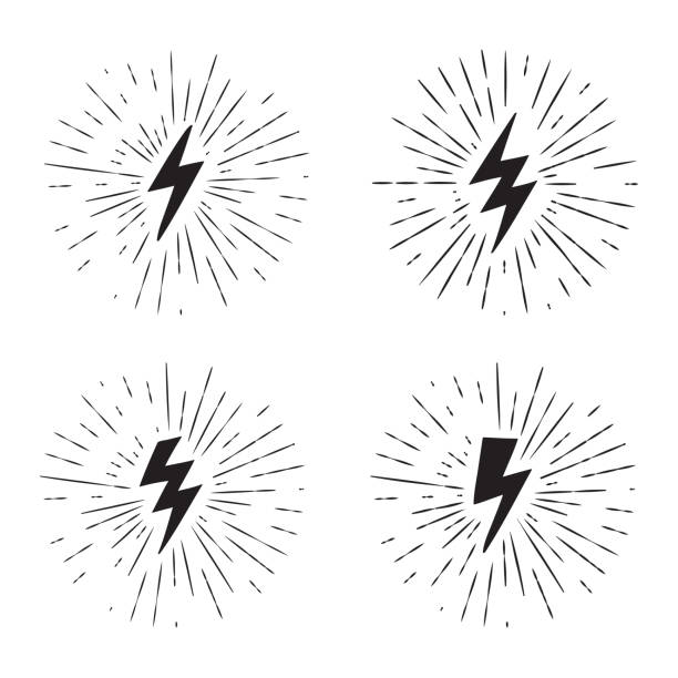 Vector black and white grunge retro set with lightning bolt signs with sunburst effect. Vector black and white grunge retro set with lightning bolt signs with sunburst effect. lightning stock illustrations