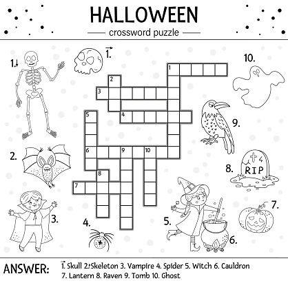 Vector black and white Halloween crossword puzzle for kids. Simple quiz or coloring page with all saints day objects. Educational activity with traditional scary objects, such as witch, ghost, vampire