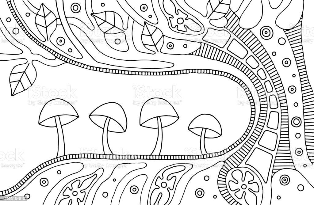 Ilustración de Vector Blanco Y Negro Ilustración Dibujado Del árbol ...