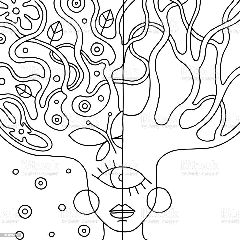 Vektör Siyah Ve Beyaz Soyut Ağaç Ile Psychedelic Kadın Yüzü çizilmiş
