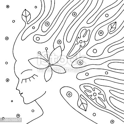 istock Vector blanco y negro ilustración dibujada de rostro de mujer ...