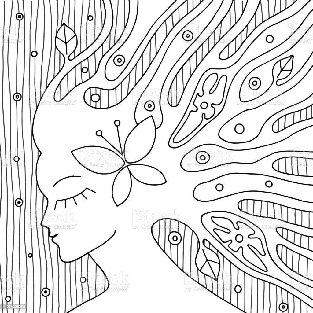 Vector Noir Et Blanc Main Dessinee Illustration De Visage De Femme