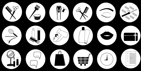 Vector black and white icons for social networks with hairdressing tools, gift card, package and shopping cart. Social media elements for design
