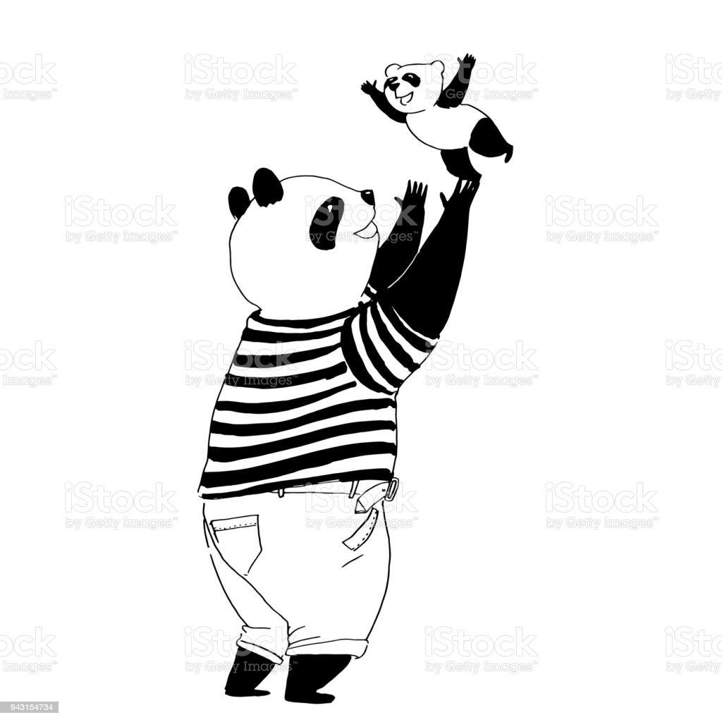 Ilustración De Vector Blanco Y Negro Para Colorear Libro Panda De ...