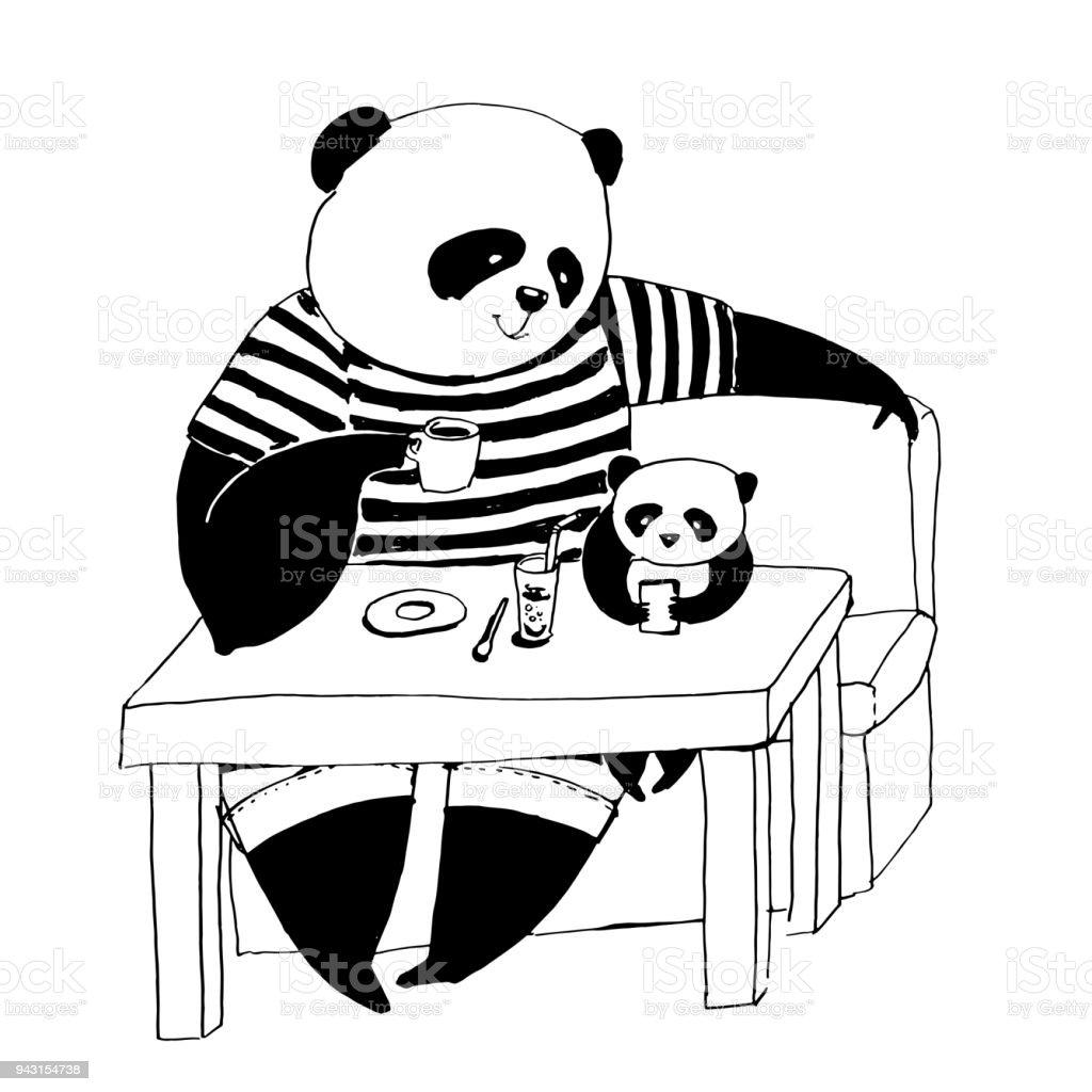 Boyama Kitabı Için Siyah Ve Beyaz Vektör çizim Peder Panda Kafede