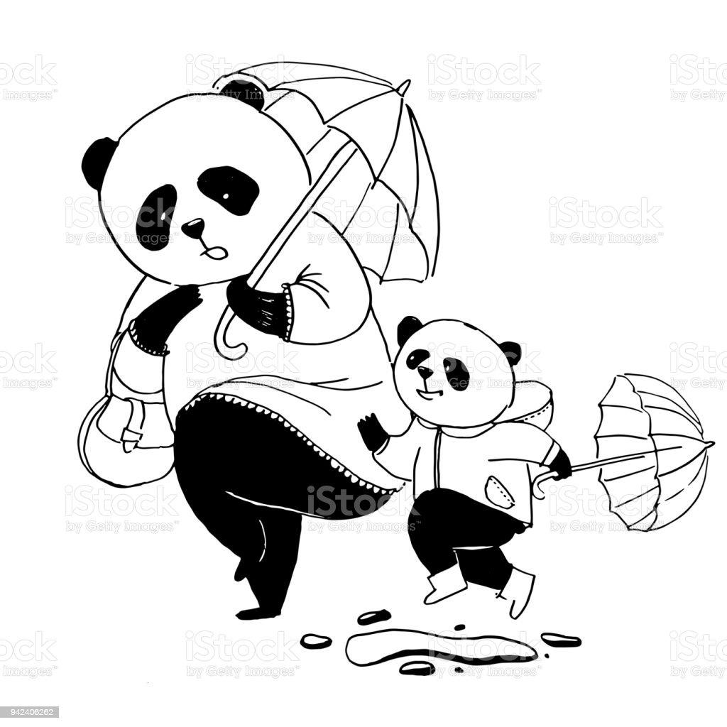 Boyama Kitabı Için Siyah Ve Beyaz Vektör çizim Onun Küçük Oğlu Panda