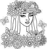 black and white vector illustration of a beautiful young woman with butterflies and flowers