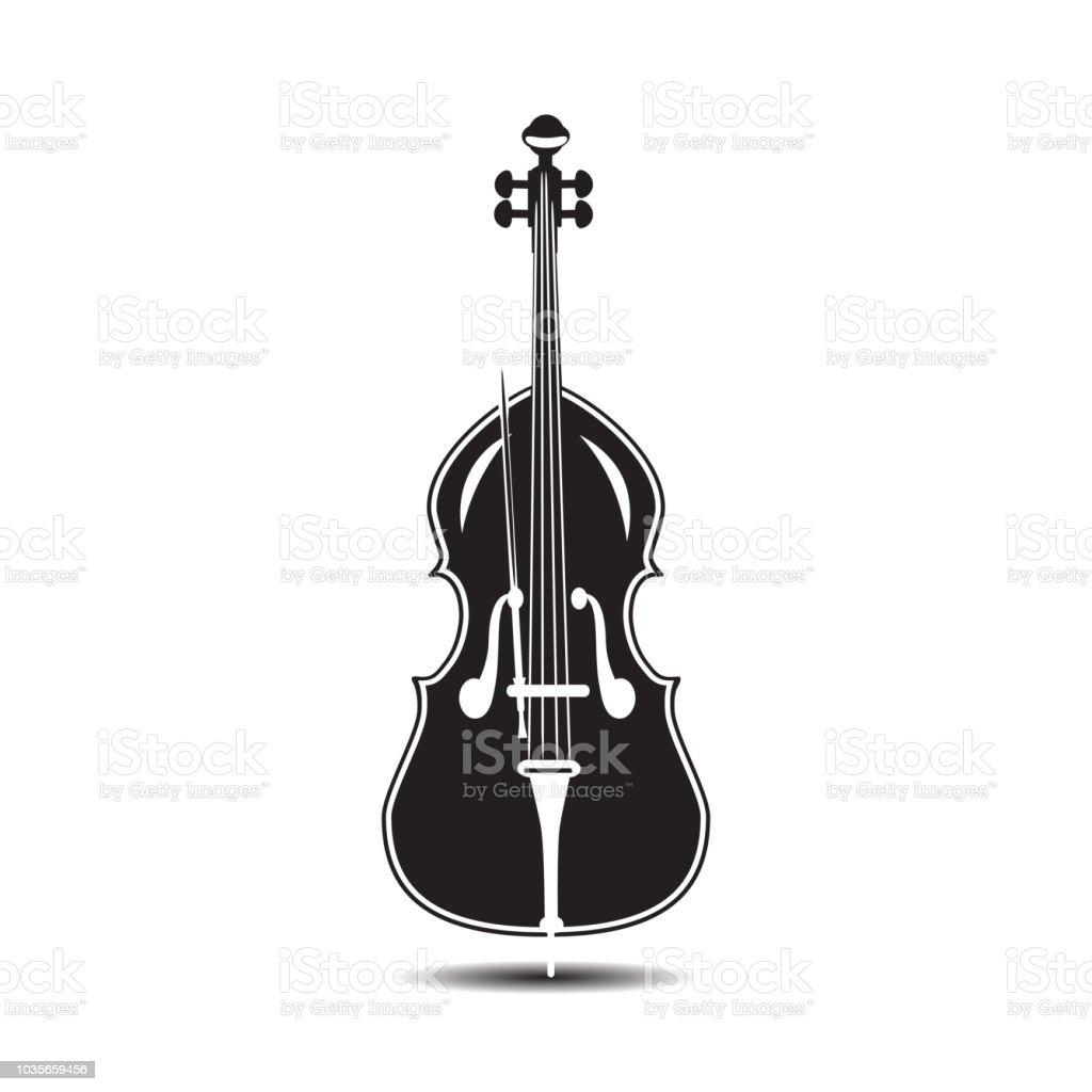 コントラバスの黒と白のベクトル イラスト アイコンのベクターアート
