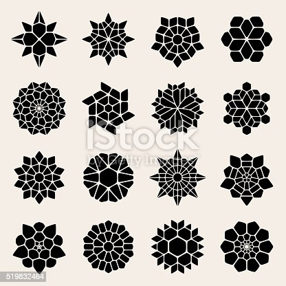 istock Vector Black And White Mandala Lace Ornaments 519832464