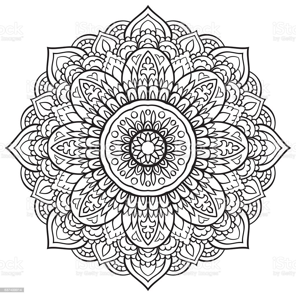 vector black and white mandala stock vector art more images of abstract 537400014 istock. Black Bedroom Furniture Sets. Home Design Ideas