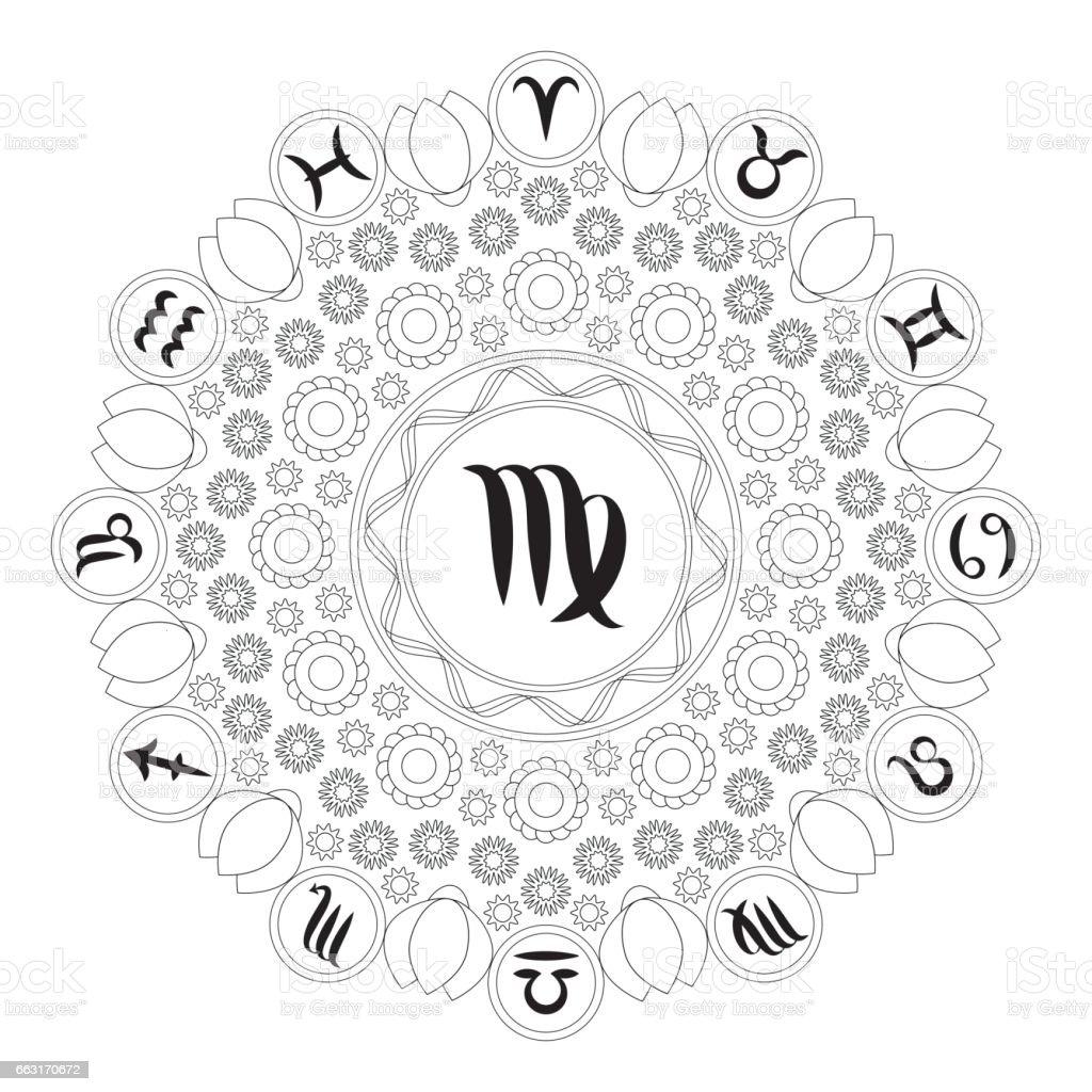 Vector Black And White Mandala With Zodiac Symbol Of Virgo Adult