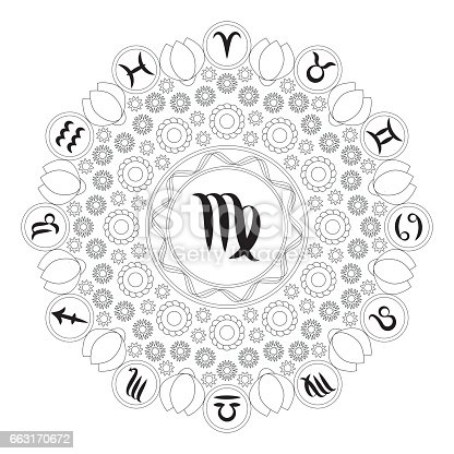 Mandala Sterrenbeelden Kleurplaten.Vector Van De Zwarte En Witte Mandala Met Dierenriem Symbool Van De
