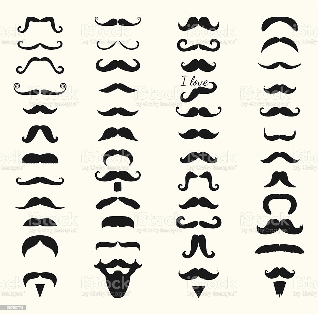 Vector Black and White mustache icon set vector art illustration